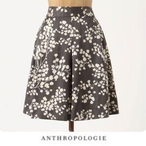 Anthropologie inked floral silk Skirt size 4